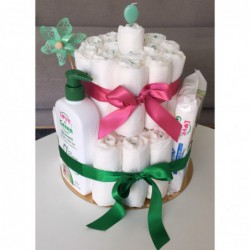 Gâteau de couches Love & Green - Idée cadeau naissance