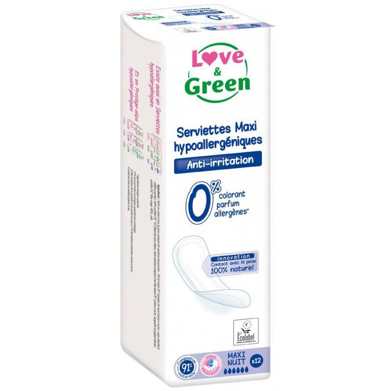 Serviettes écologiques Maxi-Nuit - Love & Green