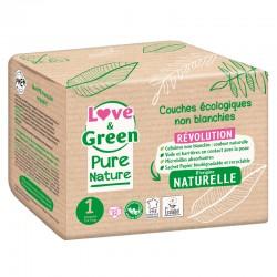 Couches bébé écologiques - Taille 1 / nouveau-né - Non blanchies - Love & Green - Pure Nature