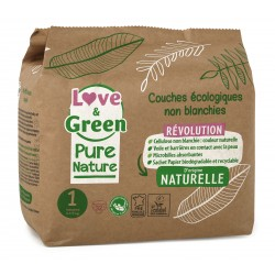 Couches écologiques non blanchie Pure Nature - Taille 1 - Love & Green