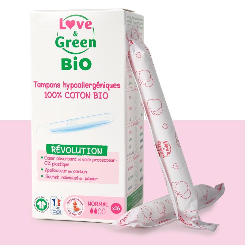 Tampons hypoallergéniques Love & Green - Avec applicateur - 100% coton BIO certifié GOTS.