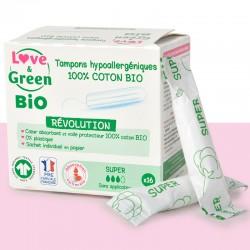 Tampons en coton bio - Sans applicateur - Super - Love & Green