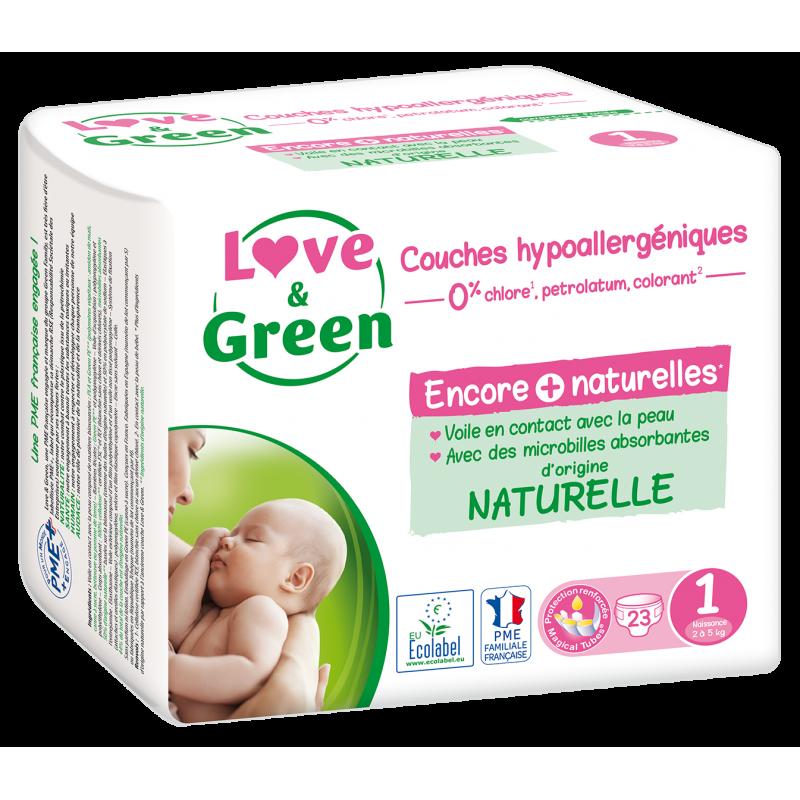 Couches écologiques Love & Green - Taille naissance - Hypoallergéniques