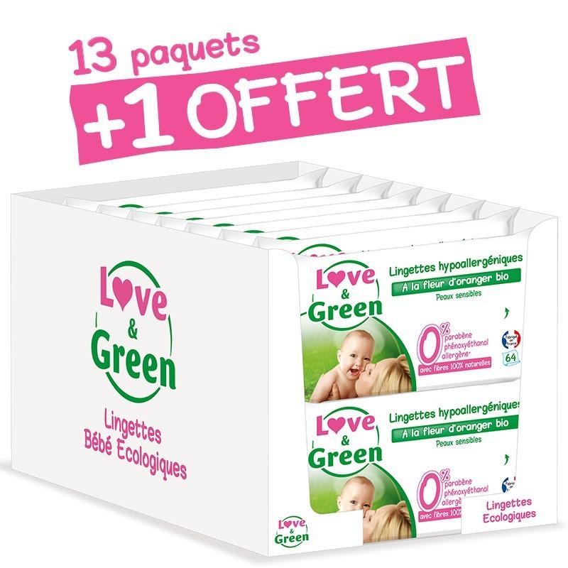 Lot lingettes écologiques | Love & Green | 1 paquet offert | Lingettes bébé à la fleur d'oranger