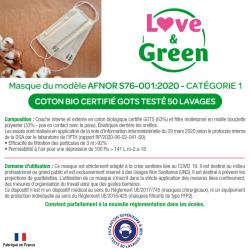Attestation masque - Catégorie 1 AFNOR - masque lavable enfant coton bio