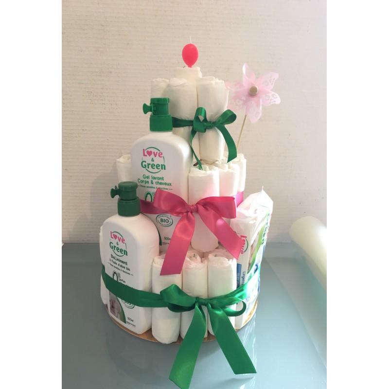 Gâteau de couches écologiques - Idées cadeaux naissance - Love & Green